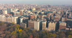 Aerial view of Columbia University and Morningside Heights New York Stock Footage