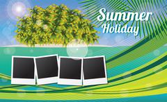 Summer holiday card with tropical island and photos - stock illustration