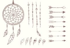 Hand drawn native american feathers, dream catcher, beads and arrows - stock illustration