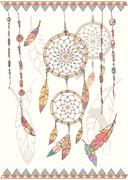Hand drawn native american dream catcher, beads and feathers - stock illustration