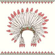 Hand drawn native american indian chief headdress - stock illustration
