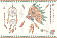 Stock Illustration of Hand drawn native american dream catcher, beads and feathers