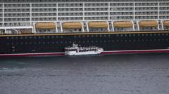 Grand Cayman Island Caribbean cruise ship decks tender boat HD Stock Footage