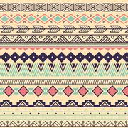 Aztec tribal pattern in stripes - stock illustration