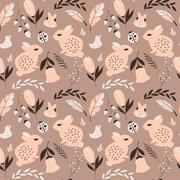 Seamless pattern with rabbits, lady bugs, birds and flowers, vector illustrat - stock illustration