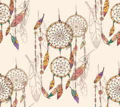 Bohemian dream catcher with beads and feathers, seamless pattern, hand drawn - stock illustration
