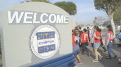 Protesters enter Compton, CA - Protesting Police Shooting Stock Footage