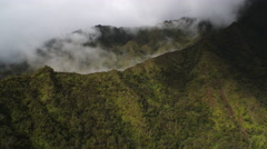 Flying over forested ridgeline to reveal mist-filled narrow canyon. Shot in Stock Footage