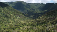 Flying through tree-covered valley toward cloud-dappled mountains, Molokai. Shot Stock Footage