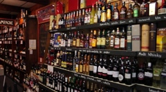Wine & Alcohol on Shelves in Store, Panning Shot Stock Footage