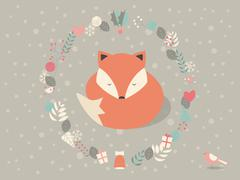 Cute sleepy Christmas fox surounded with floral decoration, vector illustrati - stock illustration