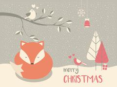 Stock Illustration of Cute Christmas sleepy baby fox surrounded with floral decoration