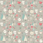 Seamless pattern with cute Christmas baby fox surrounded with floral decorati Stock Illustration