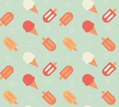 Seamless pattern with hand drawn ice cream Stock Illustration