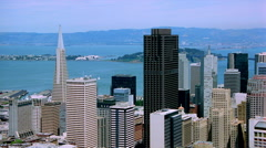 Orbiting San Francisco skyscrapers. Shot in 2001. Stock Footage