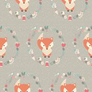 Seamless pattern with cute Christmas baby fox surrounded with floral decorati - stock illustration