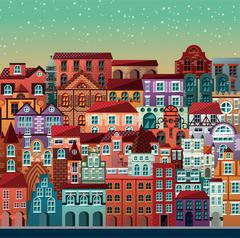 Collection of buildings and houses, old architecture, urban scene Stock Illustration