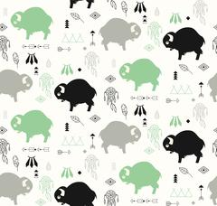 Seamless pattern with cute baby buffaloes and native American symbols - stock illustration