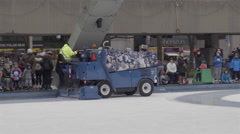 Zamboni resurfacing outdoor skating rink at city hall in Toronto. 4K - stock footage