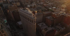 NYC Flat iron Building Aerial Shot Stock Footage