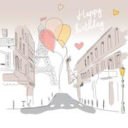 Happy birthday card from Paris street, Eiffel tower and balloons, hand drawn Stock Illustration