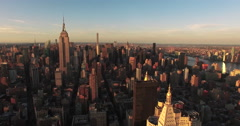 Sunset Shot Of Empire State Building And 432 Park Ave Stock Footage