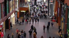 Crowd of People Walking in Shopping Mall, Cabot Circus Bristol Stock Footage