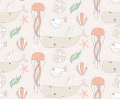 Seamless pattern with underwater scene, fish, whale, jelly fish Stock Illustration