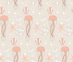 Seamless pattern with underwater scene Stock Illustration