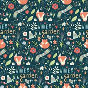 Seamless pattern with winter garden flowers, foxes and scarf, hat and mittens - stock illustration