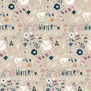 Seamless pattern with winter garden flowers, foxes and scarf, hat and mittens Stock Illustration