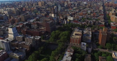 Flying Downtown From Morning Side With View Of 432 Park Ave & Empire State Stock Footage