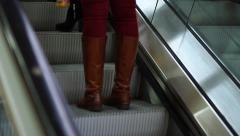 People Using Escalator, Close up of Feet Stock Footage