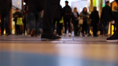 Crowd Walking in Shopping Mall, Close up of Feet Stock Footage