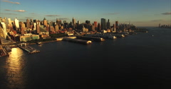NYC Aerial Fly Backwards Shot Of Pier & Skyline Stock Footage