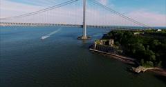 Verrazano Narrows Bridge Aerial Footage Stock Footage