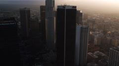 Approaching and flying close past skyscrapers of Los Angeles financial district. Stock Footage