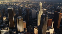 Past downtown Los Angeles skyscrapers. Shot in October 2010. - stock footage