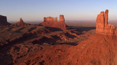 Flying past Big Chief Butte in Monument Valley - stock footage