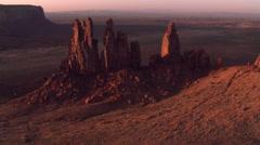 Partial orbit of Monument Valley's Yei Bi Chei Rocks - stock footage