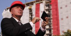 Manager Use Tablet Check Last Technical Details Building Industry Businessman Stock Footage