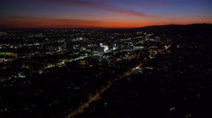Over Hollywood at nightfall. Shot in October 2010. - stock footage