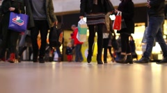 Busy Crowd of Shoppers in Shopping Mall, Low Angle, Close up of Feet  Stock Footage