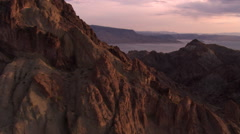 Flight approaching Lake Mead from Muddy Peak Stock Footage
