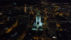 Stock Video Footage of Flying past Los Angeles City Hall at night. Shot in October 2010.