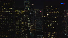 Flying between skyscrapers in downtown Los Angeles at night. Shot in October Stock Footage