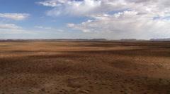 Flying over Southwestern desert vista - stock footage