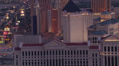 Flying south over casino rooftops in Las Vegas. Shot in 2005. Stock Footage