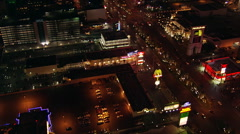 Flight crossing The Strip, over  Excalibur Hotel toward the Luxor in Las Vegas. - stock footage