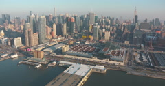 Manhattan Aerial from Hudson River including Rail Yards Stock Footage